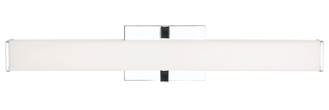 Light define the contemporary ellis 24 led bath vanity light from lbl lighting die cast metal end caps house a high quality acrylic shade which